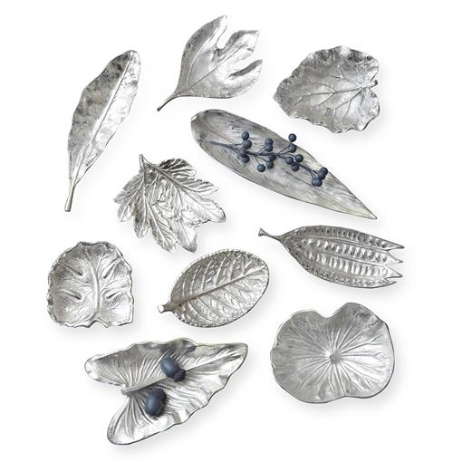 Esther Large Silver Foliage Decorative Dishes - Set of 10 | Kathy Kuo Home
