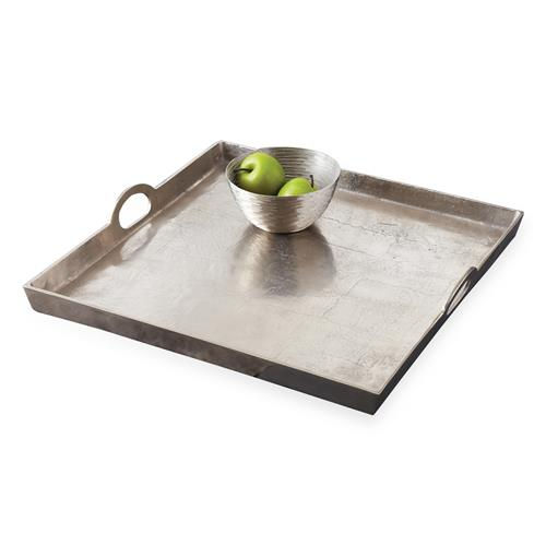 Morton Square Mixed Silver Metal Contemporary Serving Tray | Kathy Kuo Home