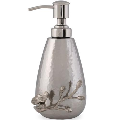 Michael Aram White Orchid Modern Classic Silver Stainless Steel Soap Dispenser | Kathy Kuo Home