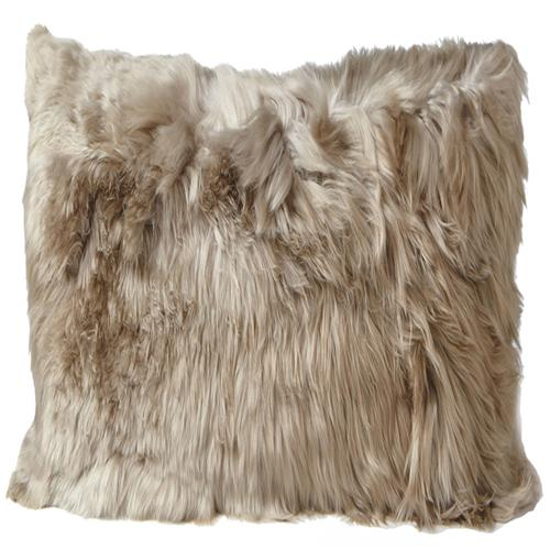 Ava Modern Classic Square Brown Alpaca Fur Decorative Pillow | Kathy Kuo Home