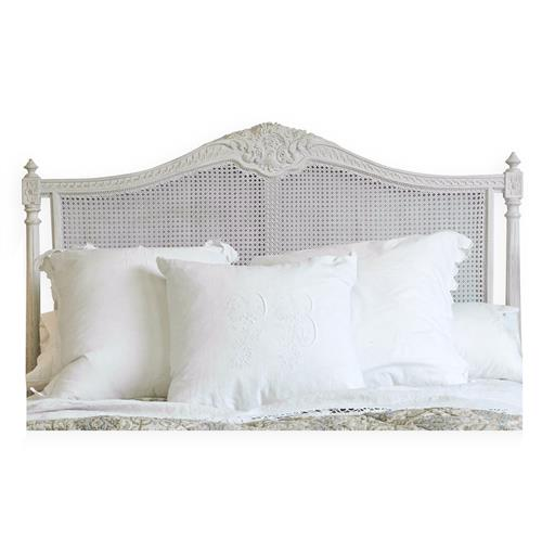 Louis XVI French Country Natural White Painted Cane Headboard - Queen | Kathy Kuo Home