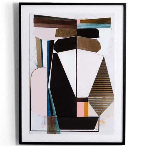 Amiyah Modern Classic Multicolored Geometric Abstract Print Maple Wood Framed Wall Art Kathy Kuo Home