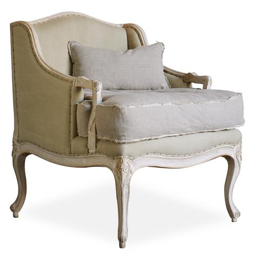 Regency Bergere French Country Arm Chair in Sage Cotton | Kathy Kuo Home