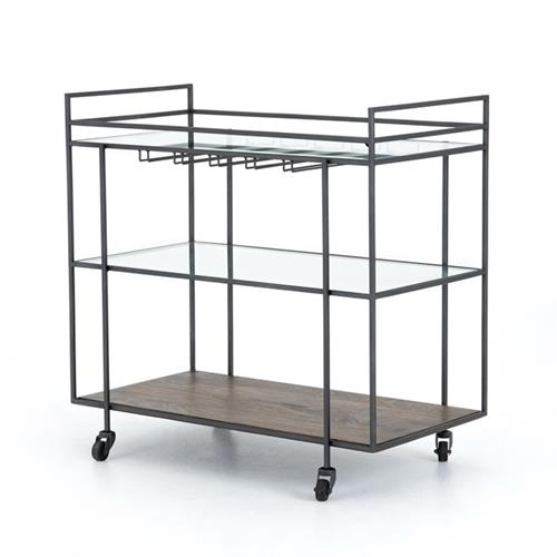 Camron Industrial Loft Brown Mango Wood Glass Metal Bar Cart | Kathy Kuo Home