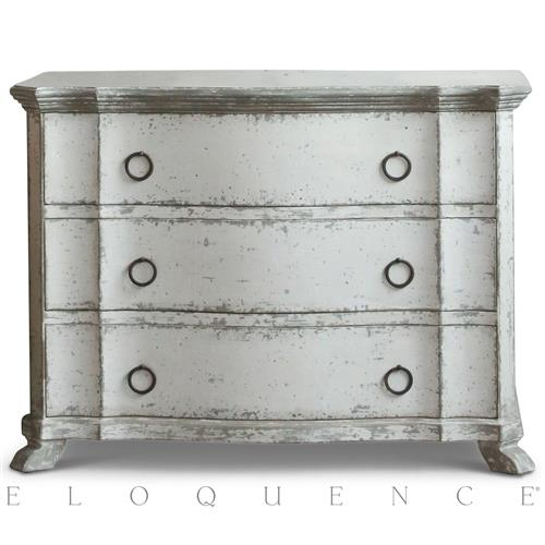 Eloquence Petit Bordeaux Commode in Distressed Stone Finish | Kathy Kuo Home