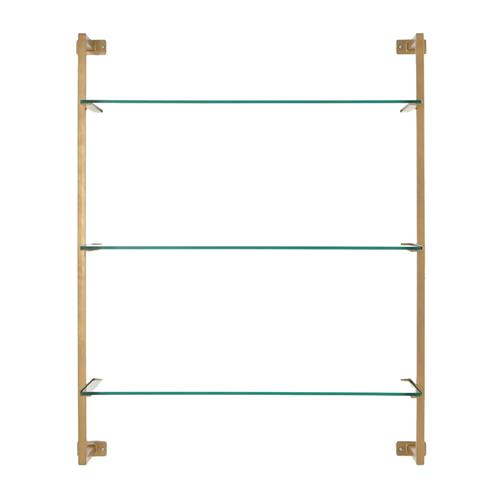 Ellen Modern Classic Gold Glass Antique Gold Metal Wall Shelf | Kathy Kuo Home