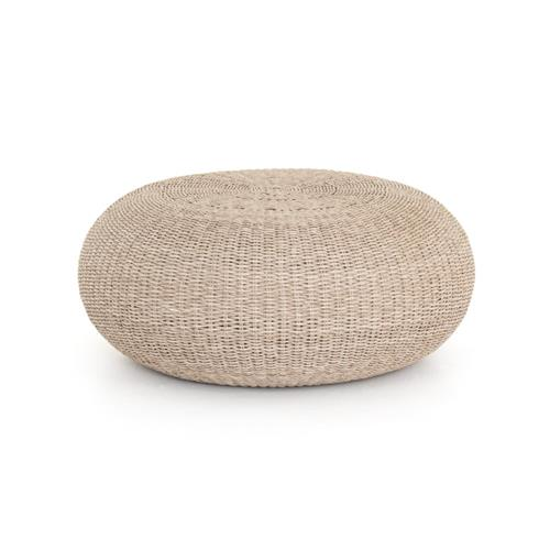 Ivonne Coastal Beach Round White Wash Woven Wicker Outdoor Coffee Table | Kathy Kuo Home