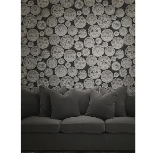 Porcelain Ceramic Plates Wallpaper - Taupe - 2 Rolls | Kathy Kuo Home