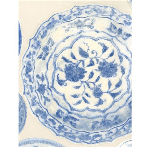 Porcelain Ceramic Plates Wallpaper - Blue White - 2 Rolls | Kathy Kuo Home