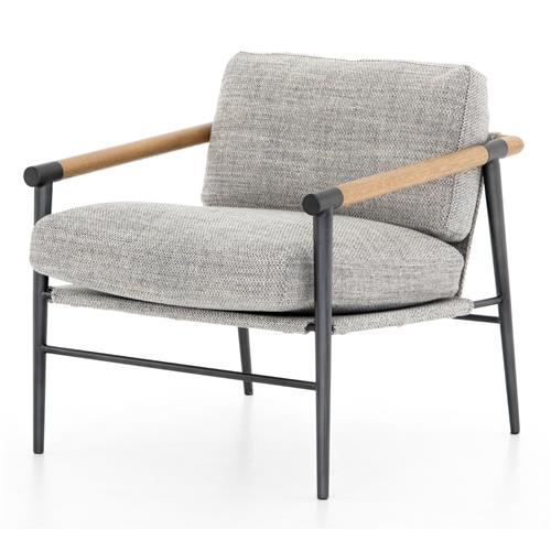 Zander Modern Classic Grey Performance Oak Wood Steel Occasional Arm Chair | Kathy Kuo Home