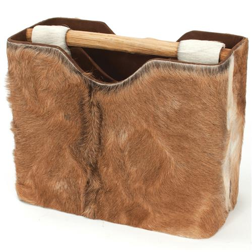 Amelia Rustic Lodge Brown Hide Teak Magazine Holder | Kathy Kuo Home