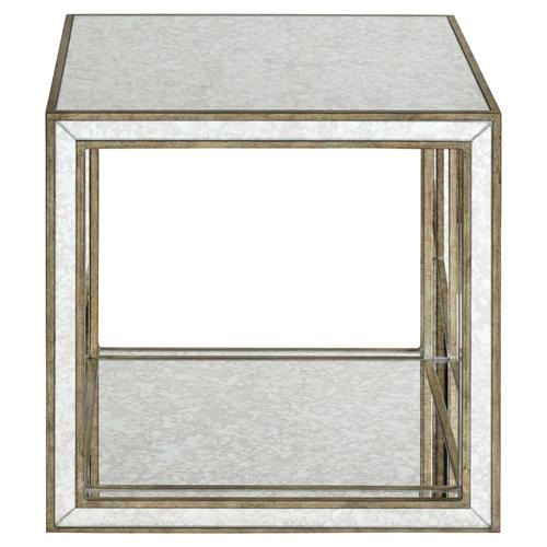 Sonia Hollywood Regency Antique Mirror Antique Gold Framed Side End Table | Kathy Kuo Home