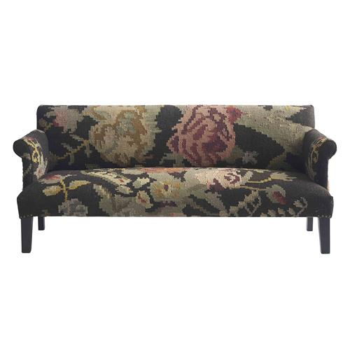 Large Floral Modern Rustic Kilim Dhurry Upholstered Sofa | Kathy Kuo Home