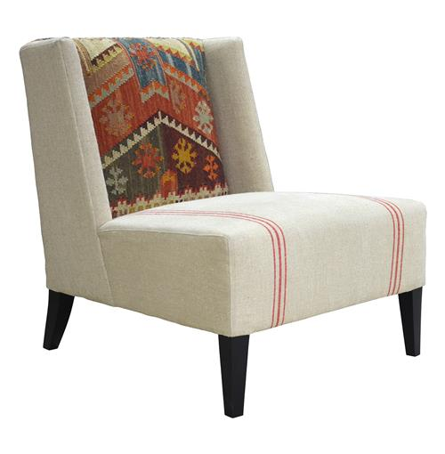 Chenla Modern Rustic Kilim Red Stripe Cream Accent Chair | Kathy Kuo Home