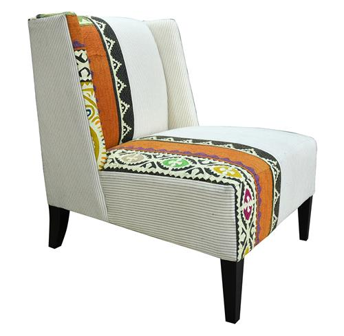 Triton Modern Rustic Patterned  Pin Stripe Cochin Accent Chair | Kathy Kuo Home