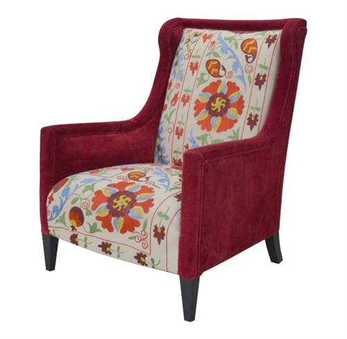 Red Floral Suzani High Back Global Bazaar Arm Chair | Kathy Kuo Home