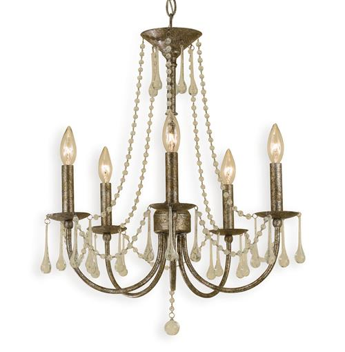 Tracy Hollywood Regency Antique Gold Glass 5 Light Chandelier | Kathy Kuo Home