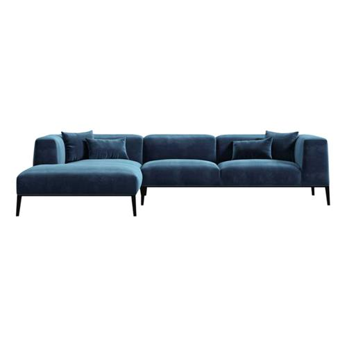 Rove Concepts Finley Modern Classic Cobalt Blue Velvet Sectional Sofa | Kathy Kuo Home