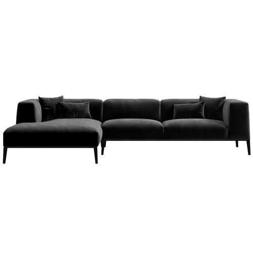 rove concepts finley modern classic black velvet sectional sofa left hand facing