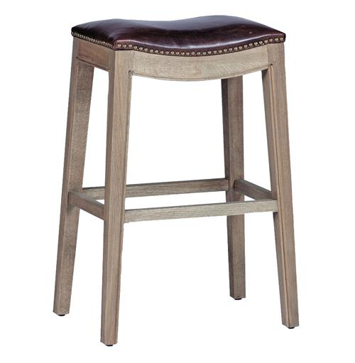 Pair Dalton French Country Leather Oak Curved Bar Stool | Kathy Kuo Home