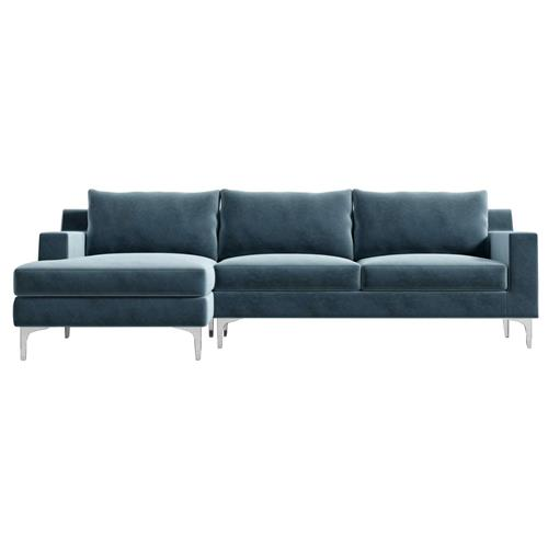 Rove Concepts Sophia Modern Classic Solstice Blue Velvet Sectional Sofa - Left Arm Facing | Kathy Kuo Home