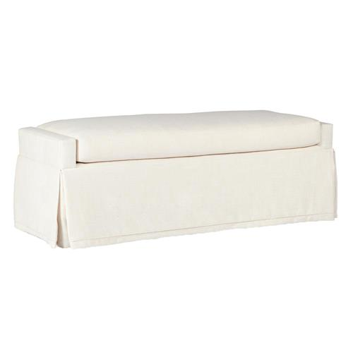 Sophia Modern Classic Skirted Ivory Linen Bench | Kathy Kuo Home