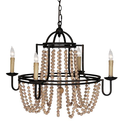 Sabrina French Country Wood Beaded Swag Black Iron Chandelier | Kathy Kuo Home