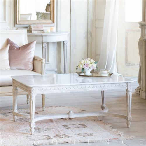 Eloquence Contessa Coffee Table in Chipped White Finish | Kathy Kuo Home