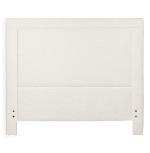 Sloan Modern Classic Square Banded Ivory Linen Headboard- Queen | Kathy Kuo Home