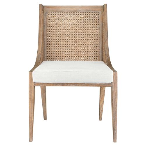 Bungalow 5 Raleigh Coastal Beach Brown Mahogany Wood Cane Dining Side Chair Kathy Kuo Home