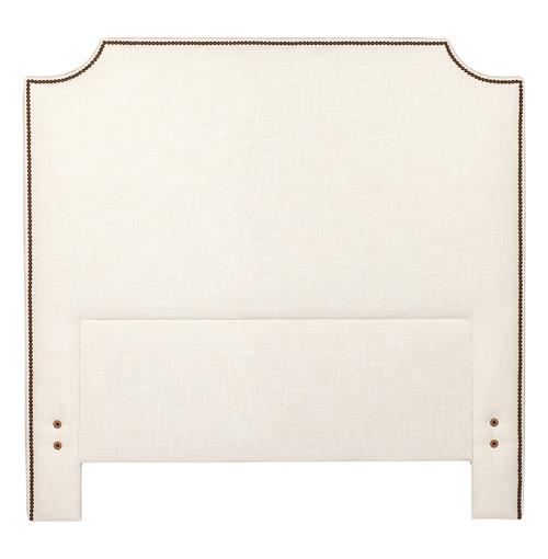 Clara Regency White Linen Nailhead Trim Tall Notched Corner Headboard - Queen | Kathy Kuo Home