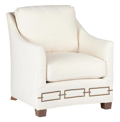 Baldwin Hollywood Regency Curved Front Arm Chair - Rectangle Nailhead | Kathy Kuo Home