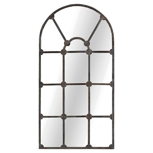Michelle French Country Aged Iron Arch Wall Mirror | Kathy Kuo Home