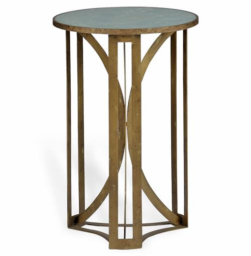 Bernard Hollywood Regency Antique Brass Leaf Marble Side Table | Kathy Kuo Home