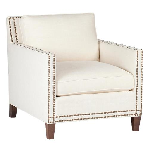 Carter Modern Classic Square Back Nailhead Arm Chair | Kathy Kuo Home