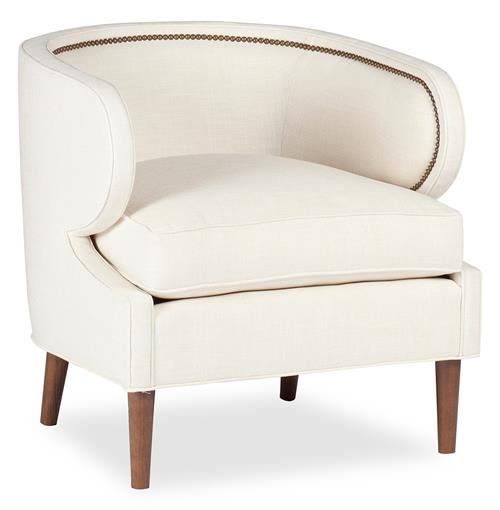 Monroe Hollywood Regency Deco Ivory Linen Arm Chair | Kathy Kuo Home