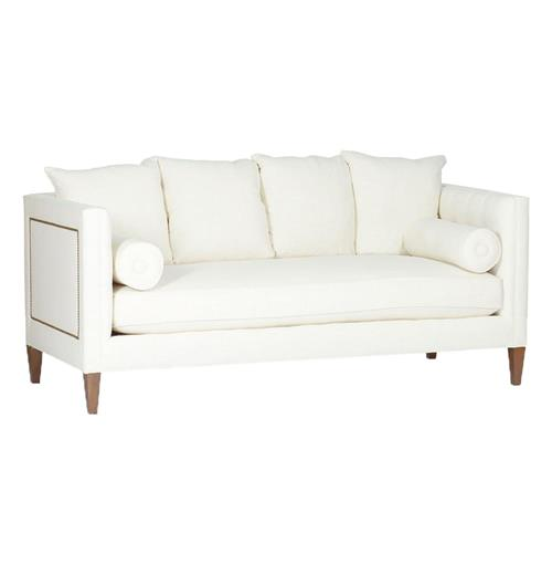 Pembroke Hollywood Regency Ivory Linen Nailhead Sofa | Kathy Kuo Home