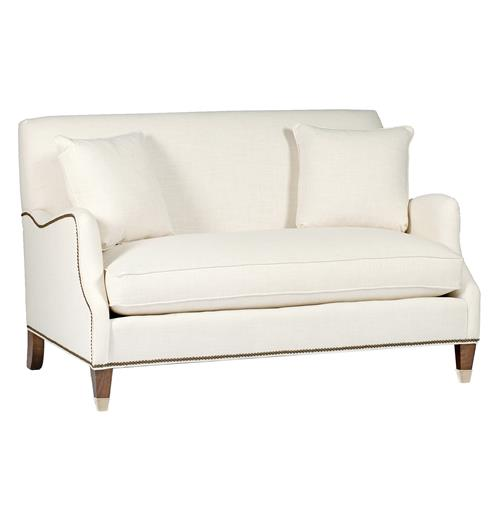 Lincoln English Saddle Arm Brass Nailhead Classic Settee | Kathy Kuo Home