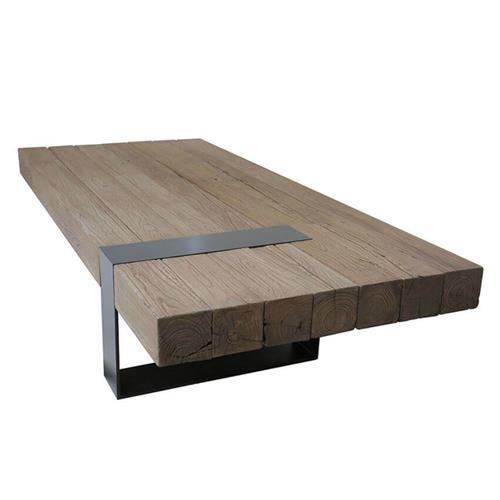 Stephen Industrial Loft Brown Elm Wood Iron Rectangular Coffee Table | Kathy Kuo Home