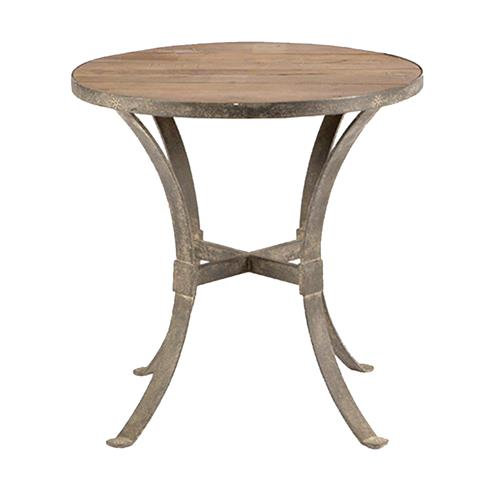 Charles Modern Rustic Reclaimed Wood Rust Iron Round Side End Table | Kathy Kuo Home
