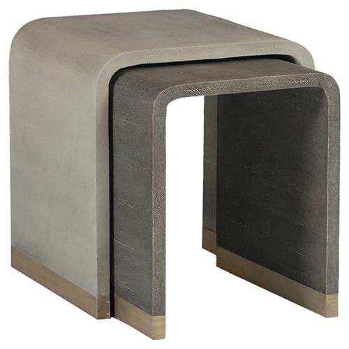 Nivens Regency Ivory Grey Waterfall Nesting Tables | Kathy Kuo Home