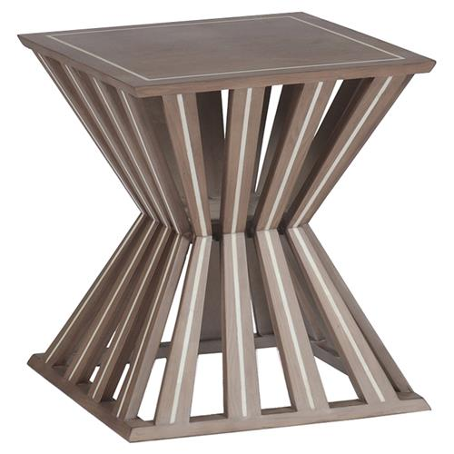 Mina Global Bazaar Oak Inlaid Bone End Table | Kathy Kuo Home