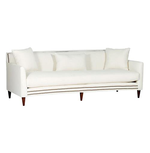 Lucy Mid Century Modern Nailhead Taper Leg Sofa | Kathy Kuo Home