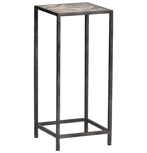 Arthur Rustic Horn Inlay Tall Side End Table | Kathy Kuo Home