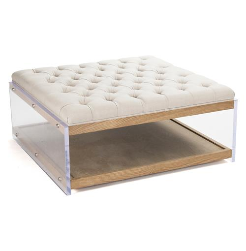 Square Linen Hollywood Regency Wood Acrylic Cocktail Ottoman | Kathy Kuo Home