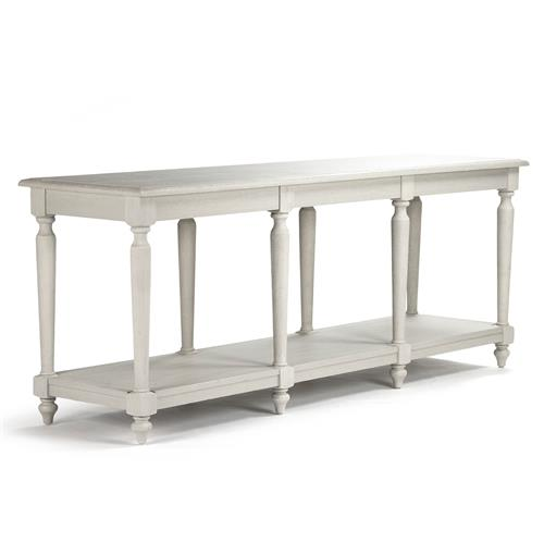 Alsace French Country Light Grey White Wash Long Buffet Console | Kathy Kuo Home