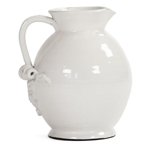 Tuscan White Ceramic Large Pitcher | Kathy Kuo Home