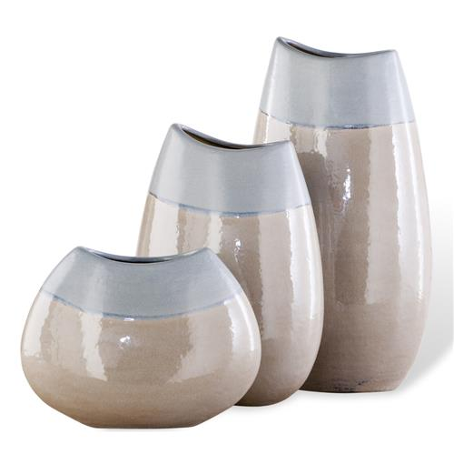 Lucia Light Blue Linen Sand Vase Trio- Set of three | Kathy Kuo Home