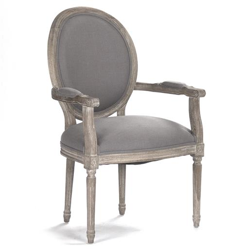 Madeleine French Country Oval Grey Linen Dining Arm Chair | Kathy Kuo Home
