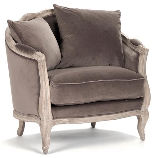 Rue du Bac French Country Chocolate Velvet Feather Chair | Kathy Kuo Home